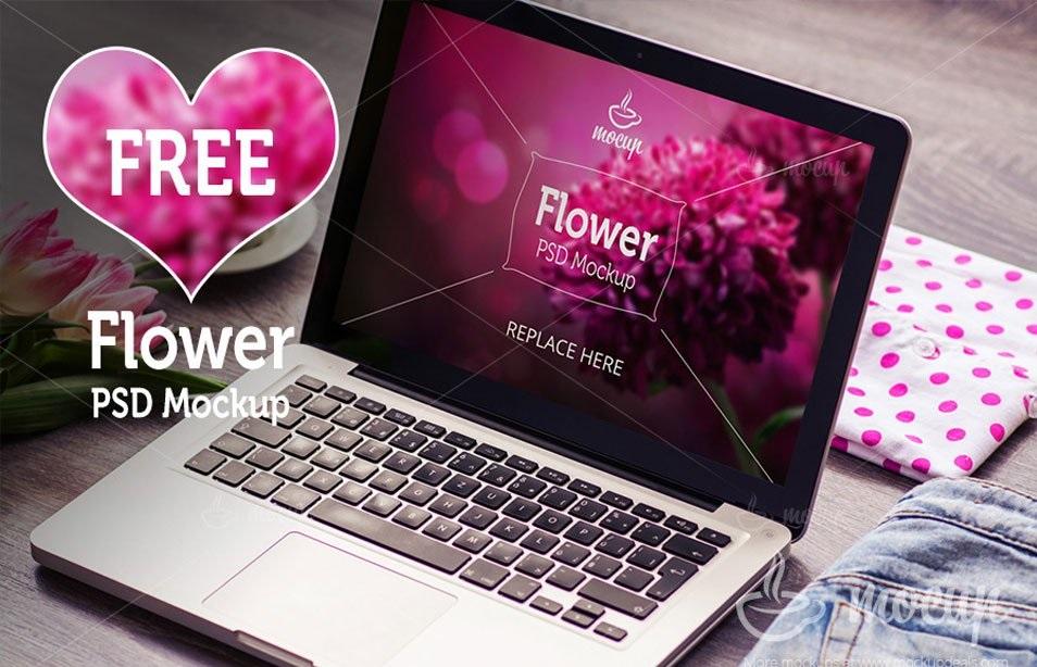 free-macbook-pro-psd-mockup-flower